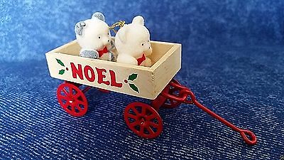 "Vintage AVON ""TEDDIES IN WAGON"" Teddy Bear Collection Noel Christmas Ornament"