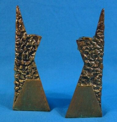 Old Vintage Pair of Star of David Heavy Brass Sabbath Candle holders