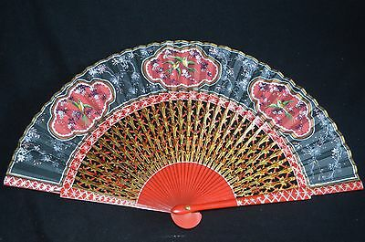Vintage Japanese Carved Silk Fan With Hand Painted Red Bird Medallions on Black