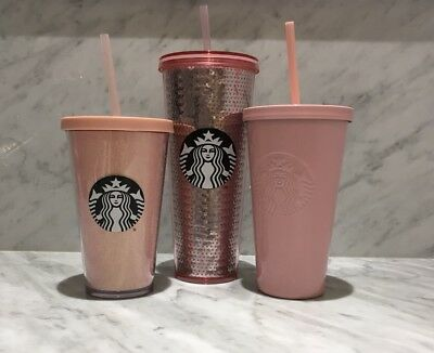 Starbucks 2017 Holiday Cup Tumbler Rose Gold Pink Glitter Sequin Stainless LOT 3