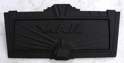 Vintage 1930's art deco house mail slot cover plate, original and nice