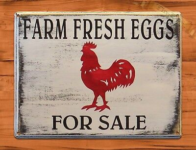 "TIN SIGN ""Fresh Eggs Red Rooster"" Farm Chicken Rustic Wall Decor"