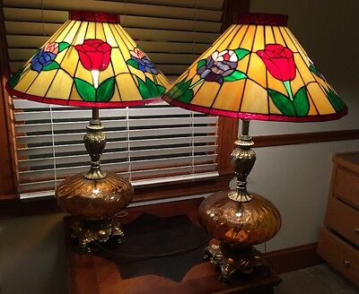 "2 Vintage Stained Glass Shades With 2 Vintage Brass Leviton Table Lamps-32"" Tall"