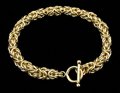 Byzantine Chain Maille Bracelet 14K Gold-Filled Handcrafted 7.5 Inch iDu Jewelry