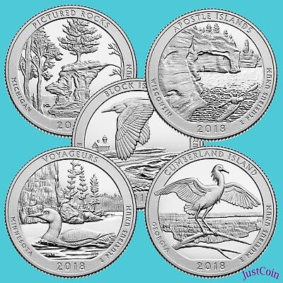 2018 Pds National Parks Quarters All 5 Releases 15 Uncirculated Quarters Total