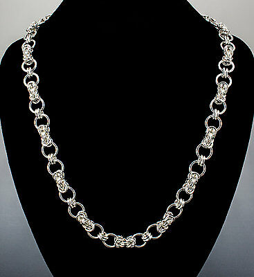 Byzantine Connected Ring Handmade Necklace Chain Maille Sterling Silver 25 Inch