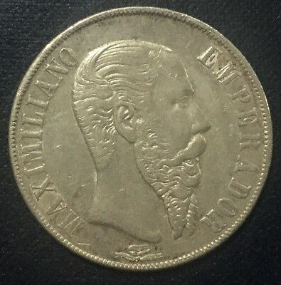 1867 Mo Mexico  Peso Maximilian Emperor Nice  Coin KM#388.1 Crown Collector Coin