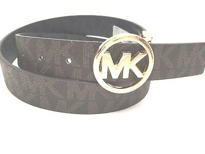 MICHAEL KORS Belt Reversible* Choco MK Logo w/Gold Tone Buckle Sz S M L XL New