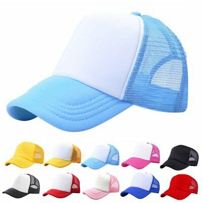 Baby Boy Girl Trucker Blank Curved Visor Hat Mesh Adjustable Plain Baseball Caps