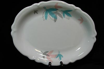 Shenango Restaurant China Platter Turquoise Gray Pink leaves 12.5 by 9.5  1950's