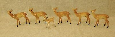 6 Vtg 40-50's Brown Spotted Hollow Mold Plastic Xmas Reindeer Figurines Doe Fawn