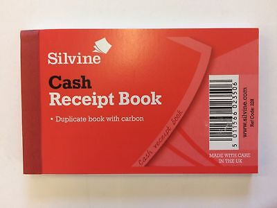 Silvine Receipt Book Duplicate Cash Gummed Receipts 64x102mm Ref 228 - 1 book