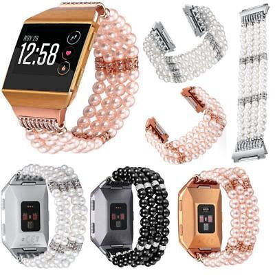 For Fitbit Ionic Watch Stylish Pearls Beaded Band Wristwatch Strap Bracelet Link