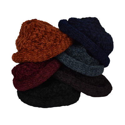 Womens Pull On Chenille Hat Warm Knit Winter Beanie Great Colors Really Soft