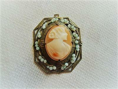 Art Nouveau Deco Brass Tone and Shell Cameo Lady Pendant With Small Glass Beads
