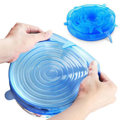 6pcs Reusable Silicone Wrap Bowl Seal Cover Stretch Lid Keep Food Fresh BPA
