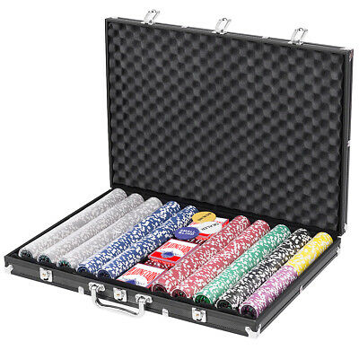 1000 Chips Poker Chip Set 11.5 Gram Holdem Cards Game with Black Aluminum Case