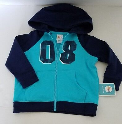 NEW CHEROKEE Size 2T Boy Navy Blue Turquoise 08 Zipped Hoodie Hooded Jacket