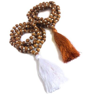 5 pcs Sandalwood 108 Bead Mala Necklace 8mm Hand Knotted with Silk Tassel