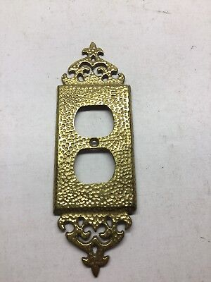 Vintage Solid Brass Hammered Outlet Cover
