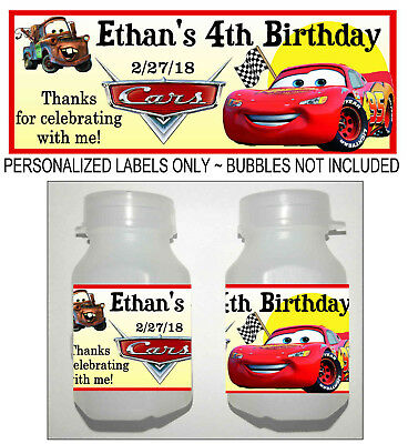 30 Disney Cars Mcqueen Birthday Party Favors Bubble Labels