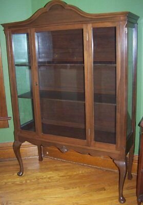 antique queen anne china cabinet buffet server w/beveled mirror mahogany