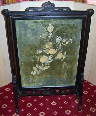 victorian eastlake carved black fire screen  rotating fabric panel 100% Original