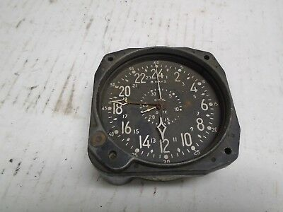 Vintage Waltham 8 Day Aircraft Aviation Clock For Repair