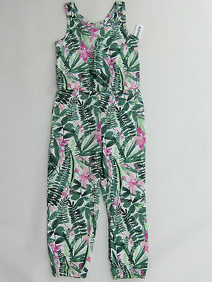 NWT Old Navy Kids Girls Size XS 5 Green & Purple Orchid Flower Pant Romper 5t