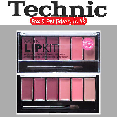 Technic Lip Gloss Lipstick Palette Set Kit Makeup Nude Pink Deep Plum Wine Set