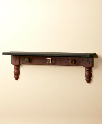 The Lakeside Collection Vintage Wall Shelf with Hooks