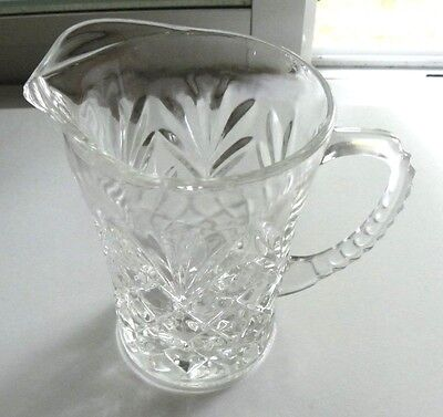 Vtg Embossed Diamond Cut Pineapple Pressed Glass Pitcher With Ribbed Handle
