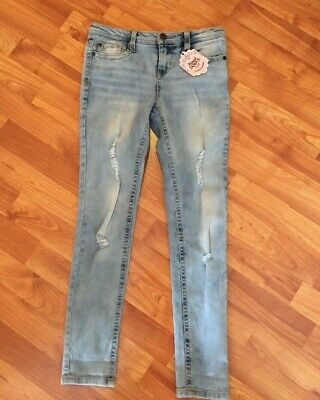 Almost Famous Too Girl's Light Wash Skinny Jeans Destroyed Stretch Sz 10 Reg New