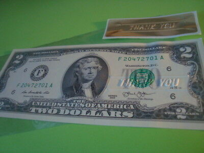 CRISP New Uncirculated U.S.A. $2.00 TWO Dollar THANK YOU  embossed Note   GIFT