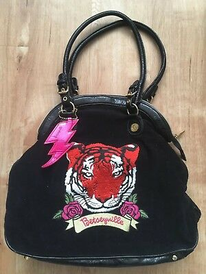 BETSEYVILLE by Betsey Johnson - Large Black w/ Embroidered Tiger Roses lips XO