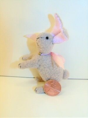 "Miniature Artist made non-jointed Standing Bunny Rabbit 3"" OOAK by Beth Hogan"