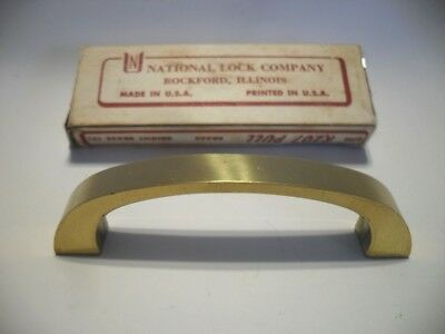 Vintage NOS Bright Wrought BRASS Drawer Pulls Cabinet Door Handles National Lock