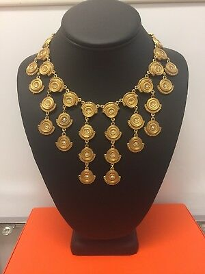 Vintage Gold Tone Egyptian Revival Necklace
