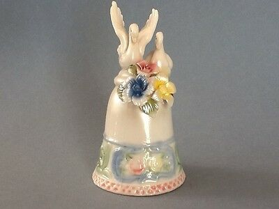 A Lovely White and Colored Porcelain Bell With Two Swans On Top & Floral Design