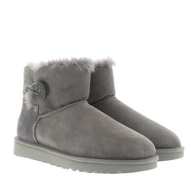 85e949b3642 UGG MINI BAILEY Button II Women's Sheepskin Boots in Size 5 Stormy Grey  1016422