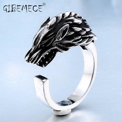 Stainless Steel Game of Thrones Ice Wolf House Stark Of Winterfell Biker Animal