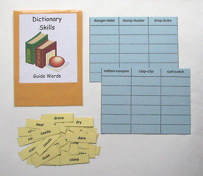 Teacher Made Literacy Center Resource Game Dictionary Skills Guide Words