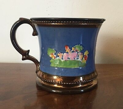 Antique 19th century Mug Copper Luster Staffordshire Pottery Lustre Cup