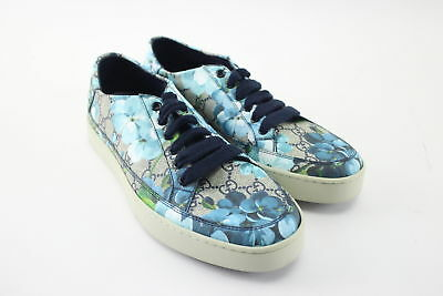 Gucci Supreme GG Canvas Bloom Print Blue Flower Sneaker Shoes Size 7