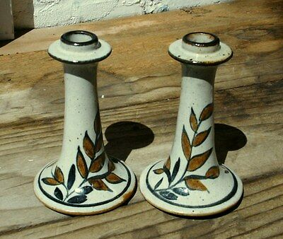 """Pair of Hand-Crafted POTTERY CANDLESTICKS Brown Leaves SIGNED """"LOPEZ"""""""