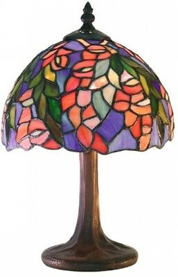 Stained Glass Accent Lamp Tiffany-Style Floral Victorian Bedside Nightlight Pink