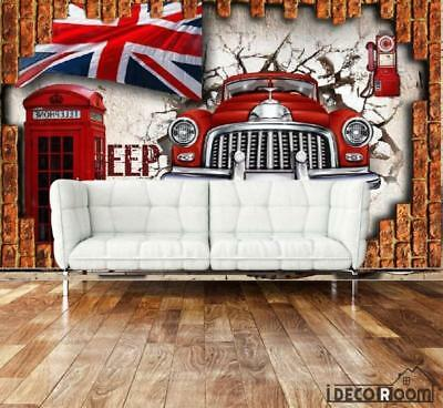 3D Vintage Old Red Car London Flag Red Cabin Breaking Through Wall Living Room A