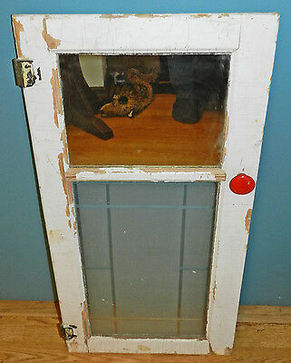 Very Primitive Antique Vintage Cupboard Door With Mirror & Frosted Glass!!