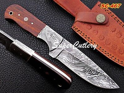 Custom Handmade Damascus Skinner Knife Full Tang Hunting Knife Rosewood Handle