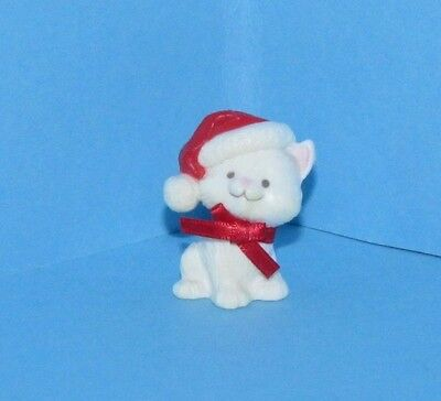 Hallmark Merry Miniature Christmas White Cat Red Bow Santa Hat 1983 Kitten